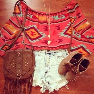 shirt top crop tops shorts high waisted shorts necklace booties bag shoes jewels blouse aztec hippie boho bohemian spring summer