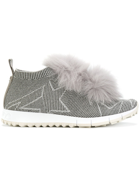 Jimmy Choo - Norway sneakers - women - Leather/Metallized Polyester/Fox Fur/rubber - 40, Grey, Leather/Metallized Polyester/Fox Fur/rubber