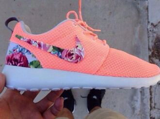 shoes orange trainers flowers girly nike roshe run neon blouse