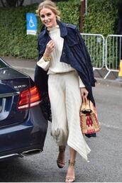 coat,lace,asymmetrical,top,turtleneck,olivia palermo,blogger,sandals,sweater