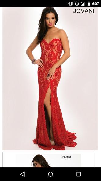jovani red lace dress