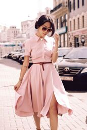 dress,pink dress,summer,vintage dress,classy dress,pink sunglasses,nude,peach dress,baby pink dress,classy,slit dress,slit,retro,pink,cute dress,spring dress,spring,blush pink,belt,help?,shirt dress