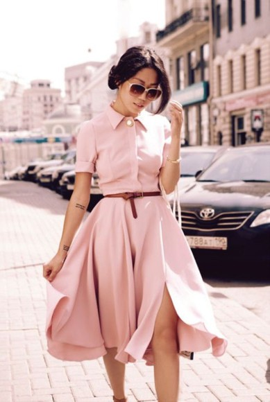 pink sunglasses dress vintage dress classy dress summer pink dress shirt
