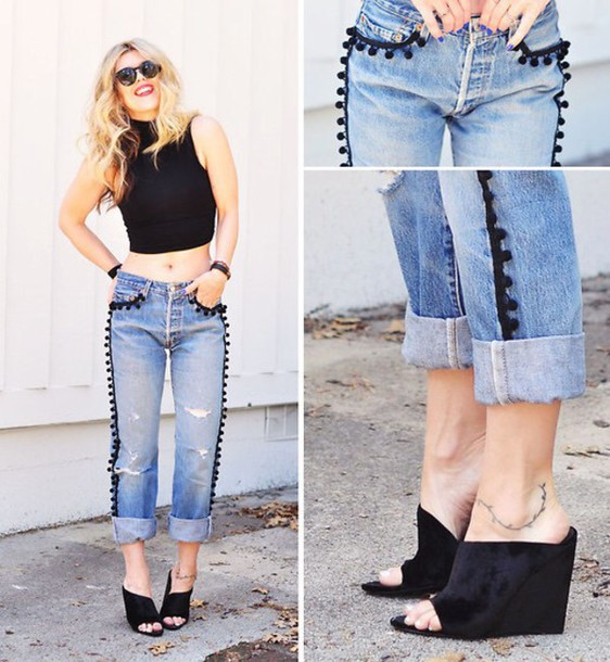 pants pom poms jeans style