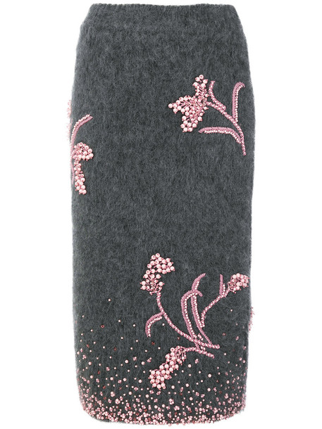 Prada skirt knitted skirt embroidered women mohair wool grey