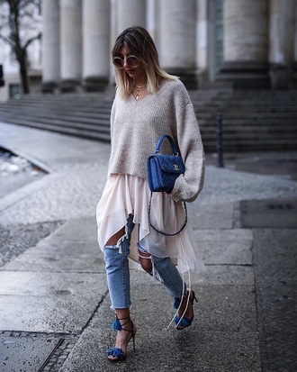 sweater beige sweater shirt blue sandals sunglasses jeans denim ripped jeans blue jeans high heel sandals sandals