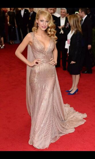 dress blake lively serena van der woodsen gold dress prom dress cape red carpet dress