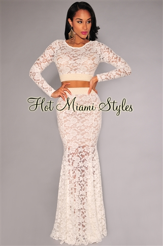 Ivory lace mermaid maxi two piece set