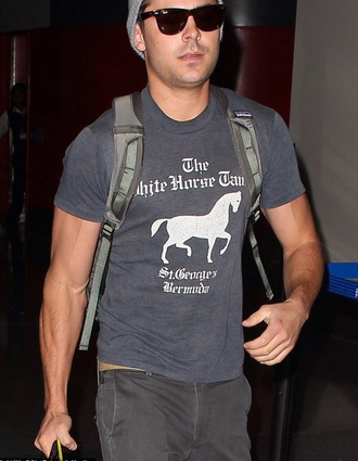 grey t-shirt grey t-shirt zack efron horses