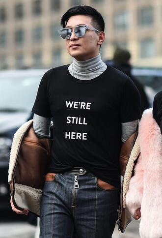 t-shirt nyfw 2017 fashion week 2017 fashion week streetstyle equality mens t-shirt mens jeans menswear mens top mens jacket