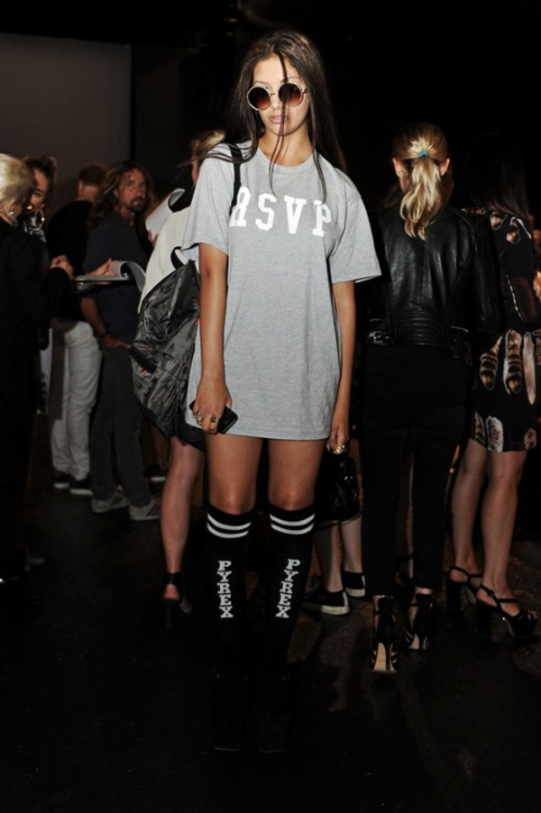 shirt tumblr rsvp tumblr shirt tumblr girl model dress grey top asvp