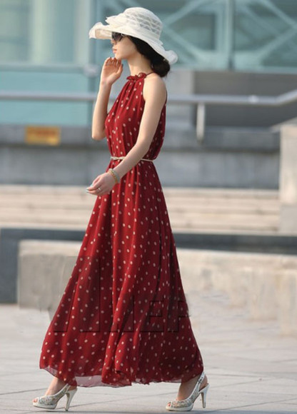dress polka dots dress polka dots skirt fashion long red dress long prom dresses long sleeve dress red dress clothes sleeveless skater dress sleeveless dress