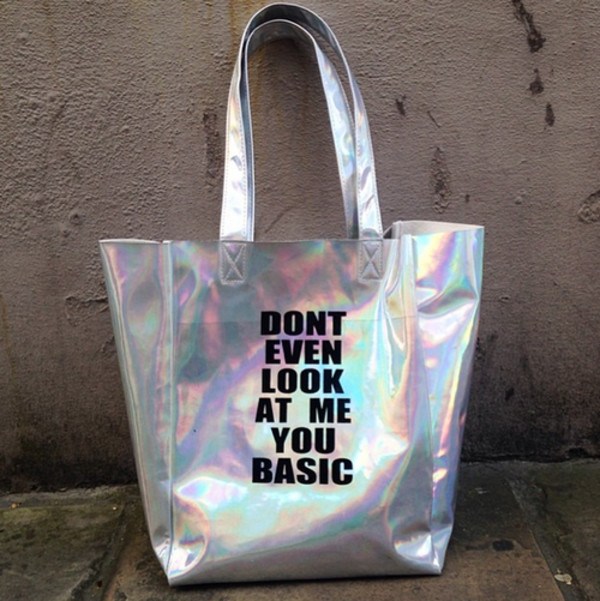 bag grunge no basic holographic dont even look at me you basic cyber ghetto basic silver metallic shopper rainbow black fashion boho silver bag