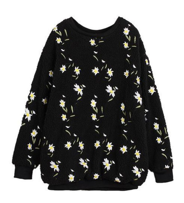 top black sweatshirt daisy fluffy sweatshirt black sweater embroidered sweatshirt www.ustrendy.com