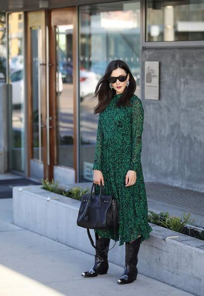 inspades blogger dress bag shoes sunglasses jewels green dress boots fall outfits