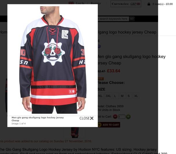 shirt navy skull hockey jersey red white rose 2f7e4d20ce1
