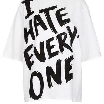 I Hate Everyone Oversize Tee - Jersey Tops - Clothing - Topshop USA on Wanelo