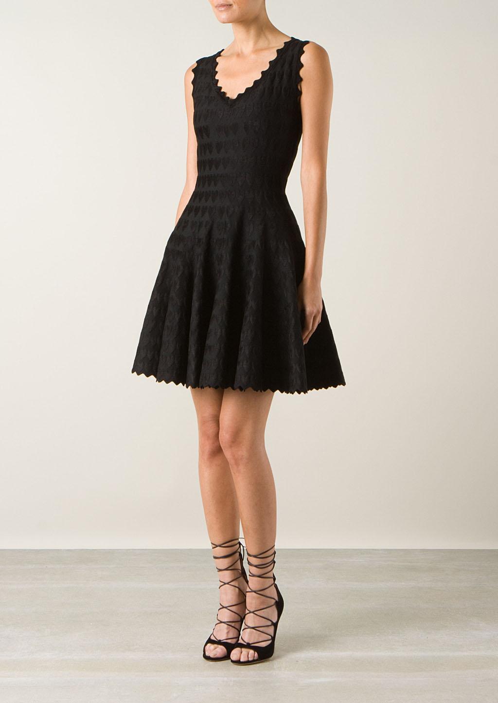 Azzedine alaïa dresses :: azzedine alaïa black fitted dress with velvet hearts