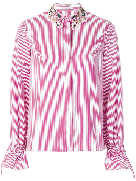 VIVETTA shirt striped shirt embroidered women cotton purple pink top