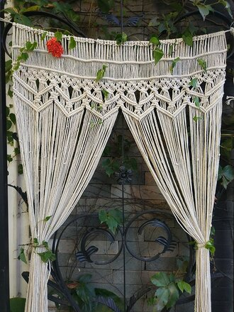 home accessory crochet curtain draps cream tan home decor atomosphere boho chic