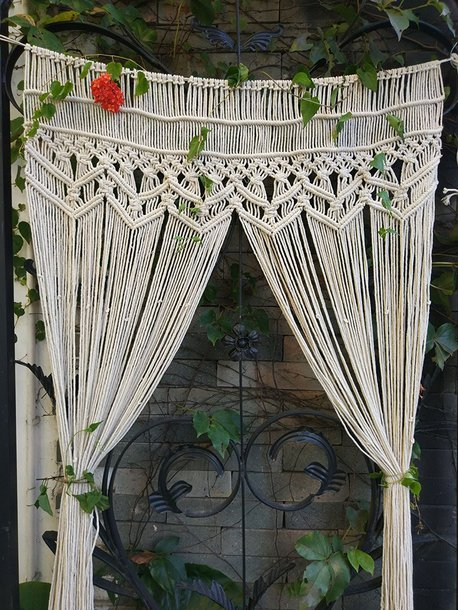 home accessory crochet curtain draps cream tan home decor atomosphere boho chic