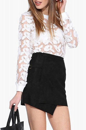 sweater white white sweater floral boho boho chic high waisted black see through long sleeves zaful