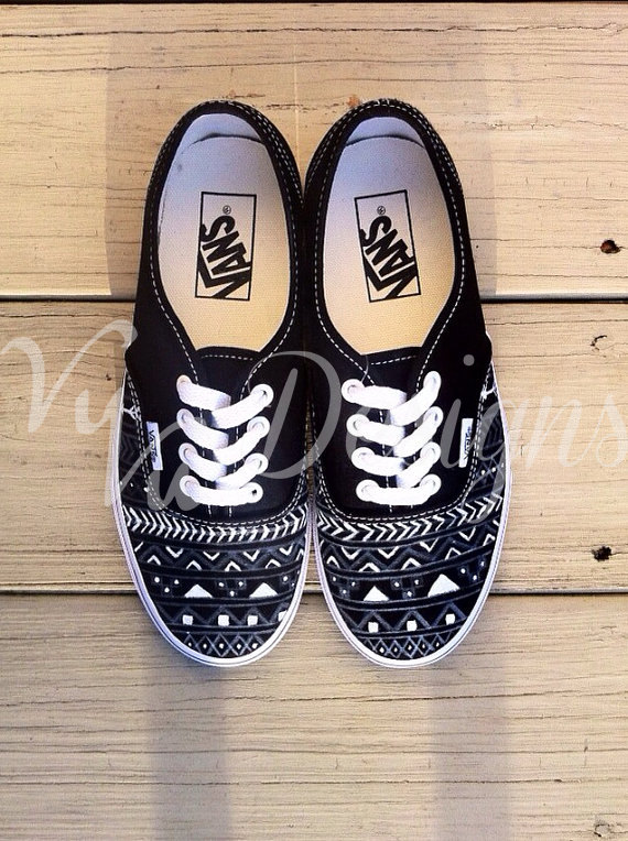 1 WEEK SALE (Orig. 119 dollars) Black Aztec/Tribal Vans