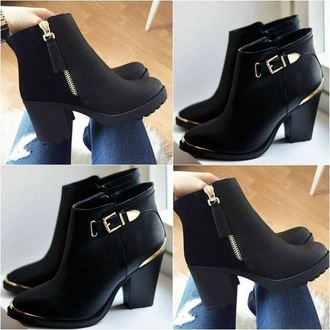 shoes ankle boots heel boots black black booties chelsea boots heeled black boots