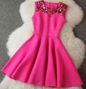 dress pink glitter diamonds pink dress