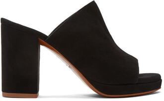 mules suede black shoes