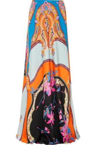 skirt maxi skirt maxi floral print blue satin