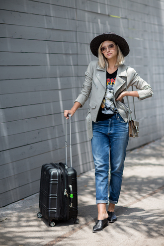 late afternoon blogger jacket jeans t-shirt shoes sunglasses hat
