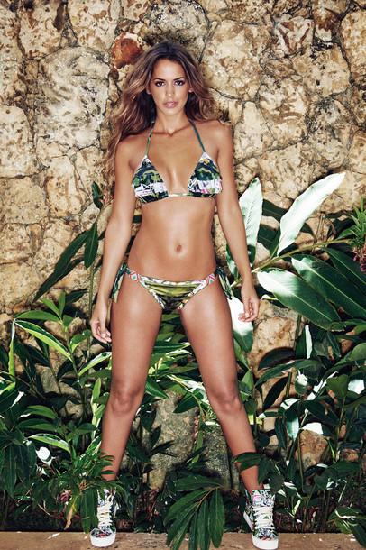 top agua bendita bikini bottoms bikini top cheeky halter top luxury print triangle multicolor bikiniluxe
