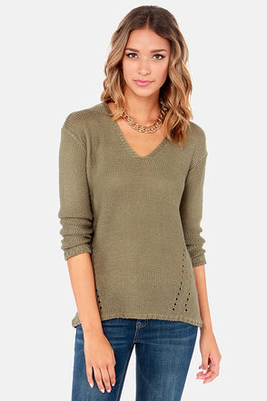 Cute Olive Green Sweater - V-Neck Sweater - Knit Sweater - $66.00