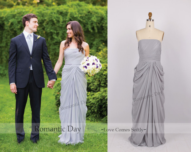 Dress: grey dress, strapless wedding dresses, chiffon wedding ...