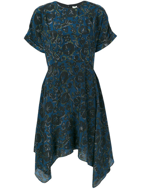 Kenzo dress floral dress women floral blue silk