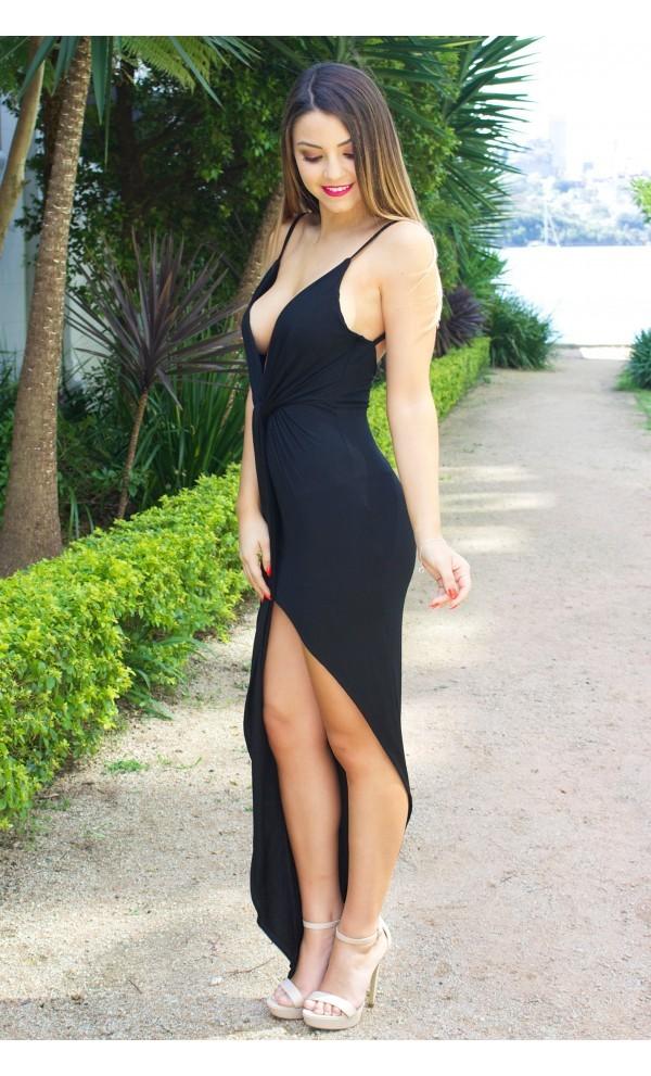 Black twist front asymmetrical maxi dress