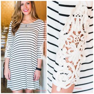 dress ivory black stripes crochet pretty amazinglace