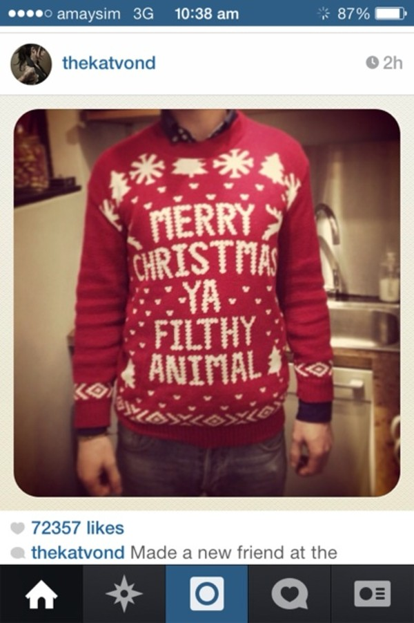 Merry Christmas Ya Filthy Animal Ugly Sweater by sidestagegraphics