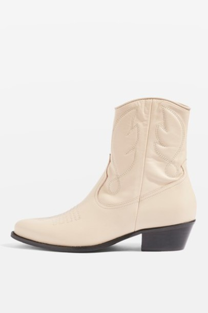 Topshop western boots cream shoes