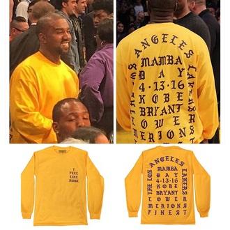 sweater yellow yellow sweater kobe i feel like kobe kanye west kanye west shirt yeezy yeezy merch