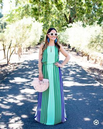 dress handbag sunglasses white sunglasses tumblr dress tumblr green dress stripes striped dress maxi dress long dress summer dress bag jewels