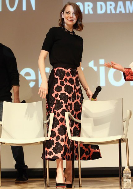 emma stone floral skirt