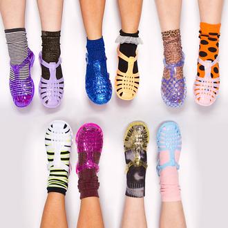 shoes jellies pink purple gold black clear blue yellow lavender glitter flats socks and sandals rubber sandals sparkle slip ins vintage cute socks underwear stripes crew socks