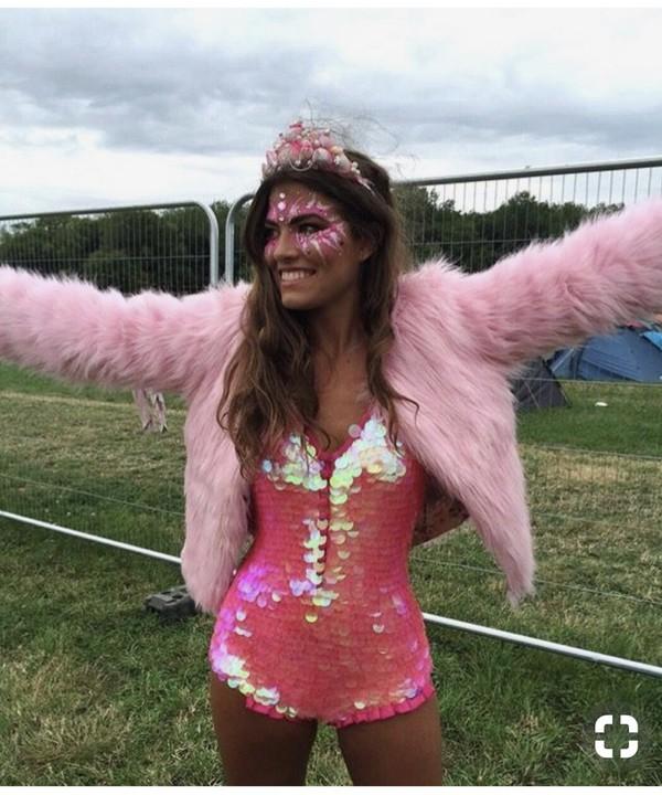 214f29db98a4 jumpsuit sequins sequins mermaid style rave festival festival top festival  looks festival clothes pink bodysuit bodysuit.
