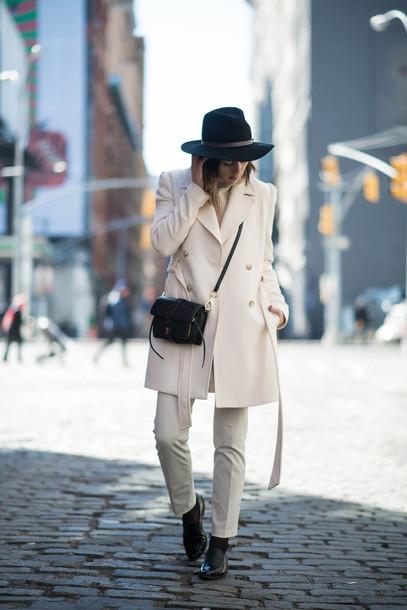 take aim blogger coat hat sweater bag pants shoes straight pants