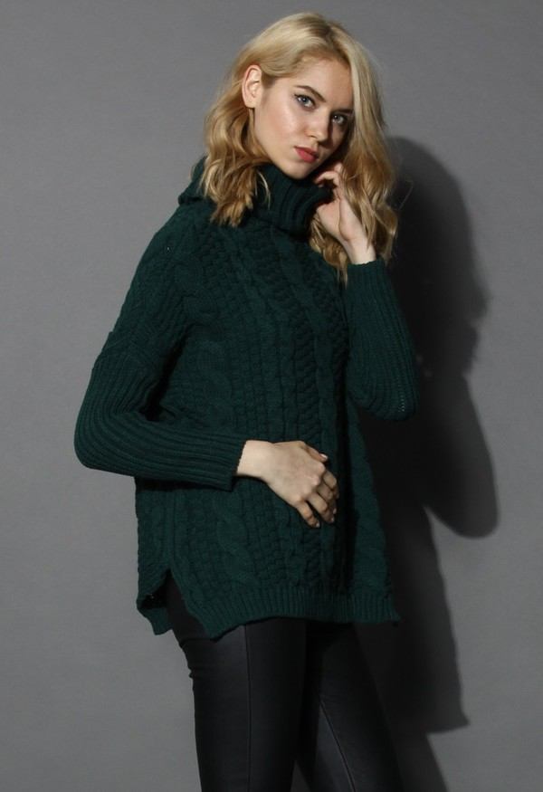 chicwish dark green cable knit turtleneck