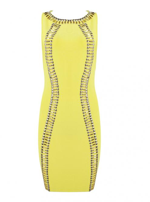 Yellow Beaded Sleeveless Bandage Dress H914$139