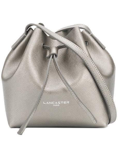 lancaster mini women bag bucket bag leather grey metallic