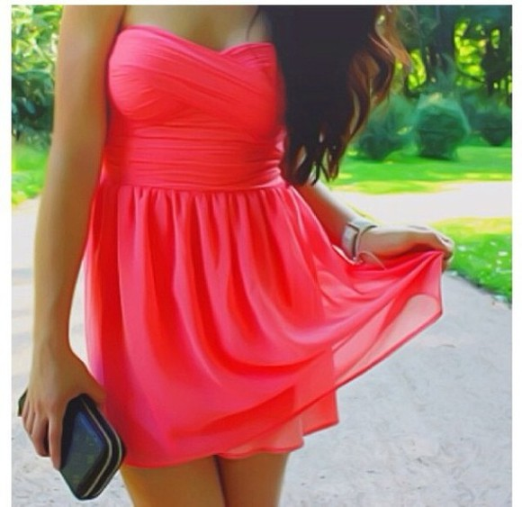 dress coral dress bag short dress sweetheart neckline